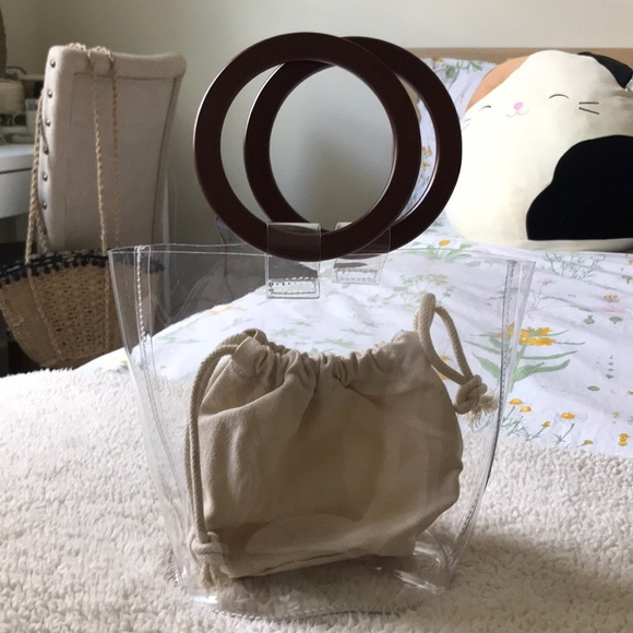 Pvc Clear Bag With Wooden Handle